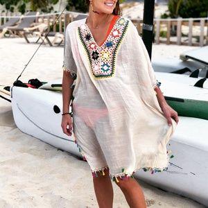 NWT Boho Crochet Swim Cover-up Dress Poncho